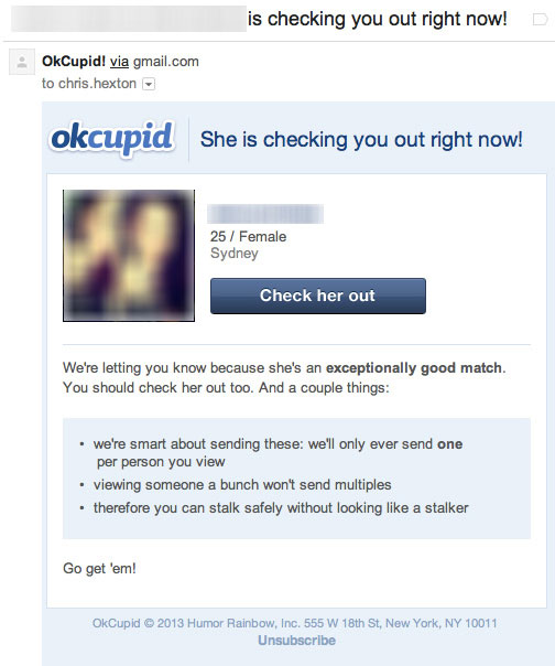 OkCupid Triggered Email Marketing