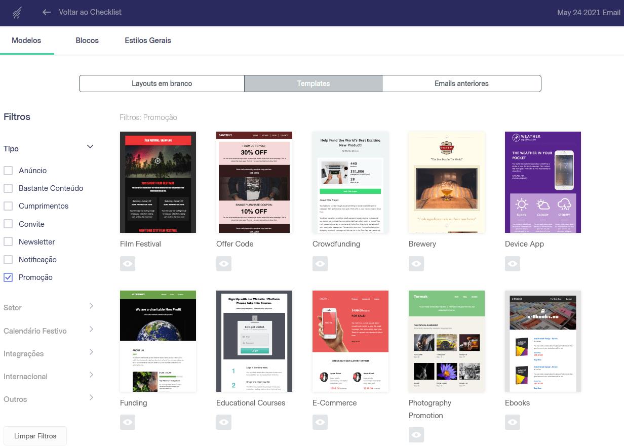 templates de email gratuitos da benchmark
