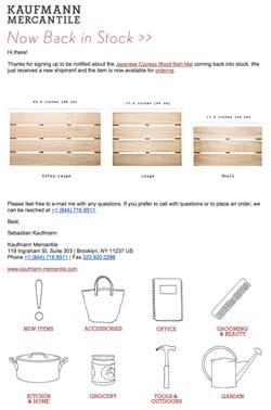 exemplo de email de itens de volta ao estoque