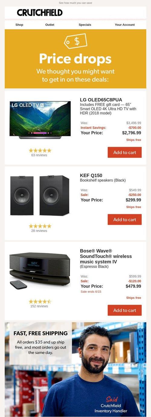 email marketing para ecommerce com queda de preço