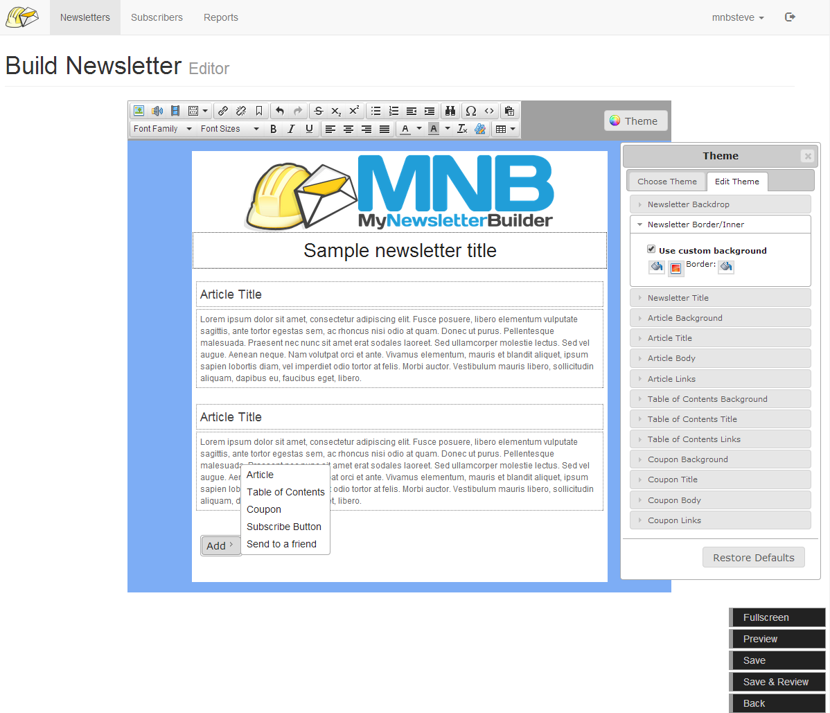 mynewsletterbuilder info and compare this email marketing software