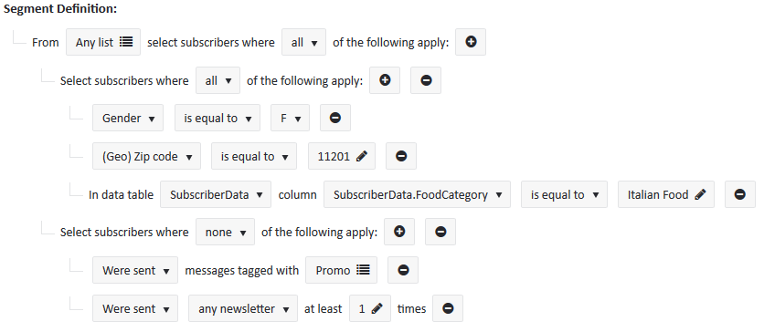 complex email segmentation