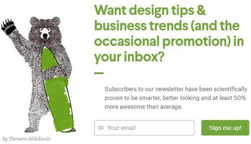 exemplo de formulário de inscrição criativo de email marketing para ecommerce
