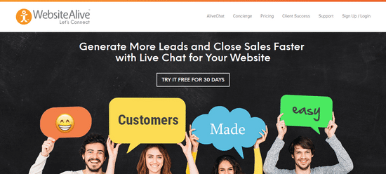 websitealive chat leadgen