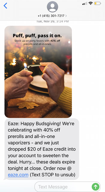 Eaze text2 marketing