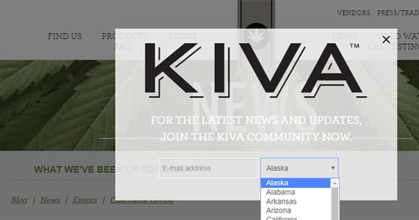 Kiva confections age-gate marketing