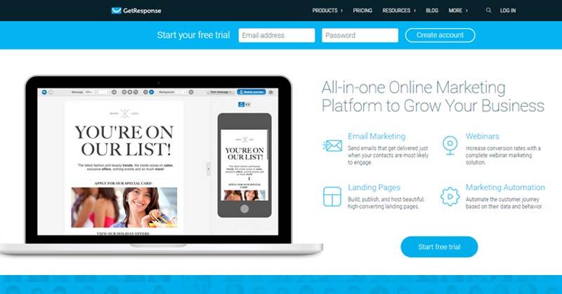 MailChimp alternatives email marketing getresponse
