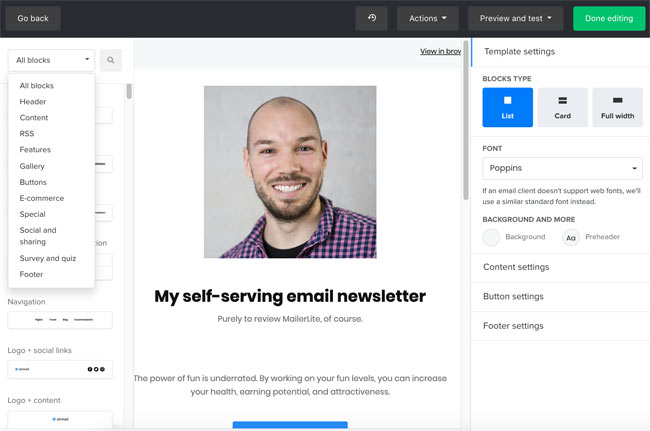 mailerlite review email campaign editor