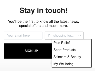 Segmented email signup