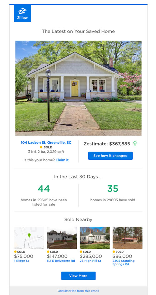 Zillow email example segmentation