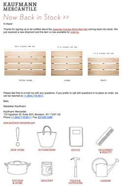 back in stock email example ecommerce
