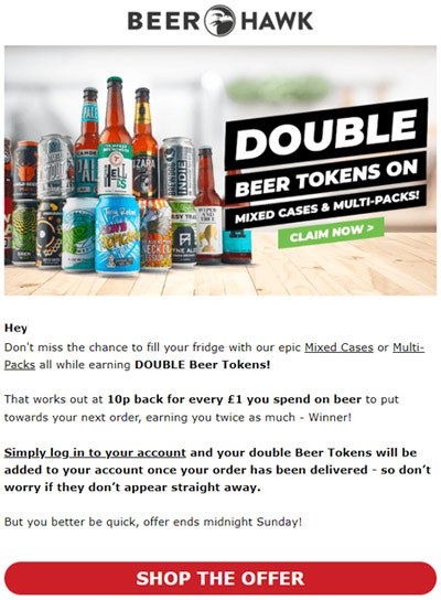 beer hawk loyalty program double point email