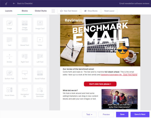 Email marketing platform review editor