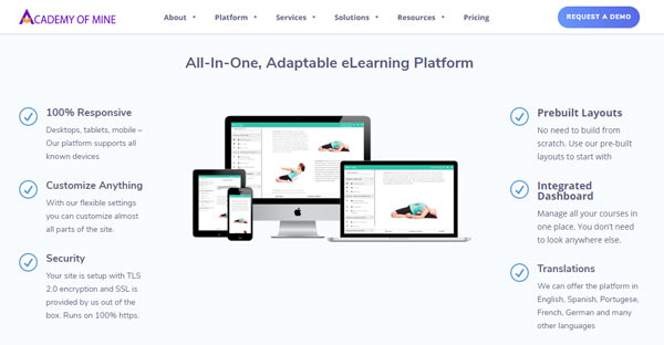 best LMS elearning platform academy of mine