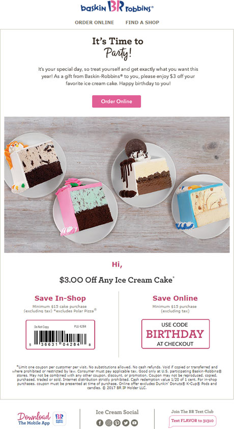 birthday email examples baskin robbins restaurant