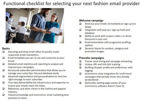 checklist for fashion email vendor selection