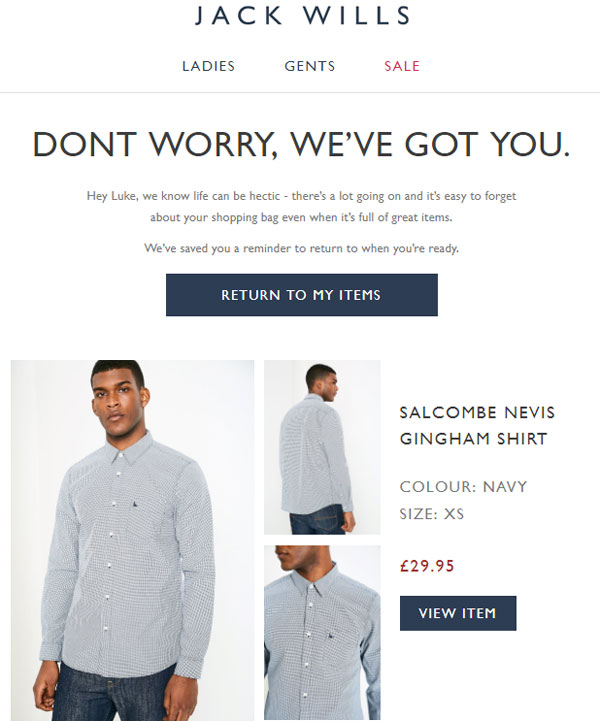email abandonned cart example jack wills