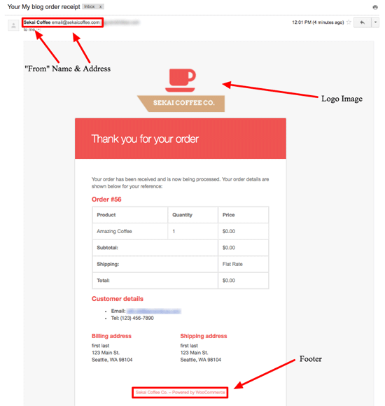 wordpress woocommerce order reciept email
