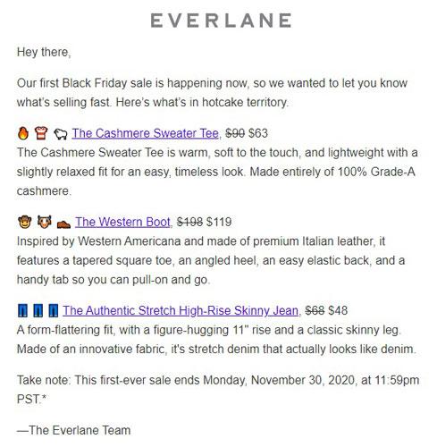 everlane black friday email fashion