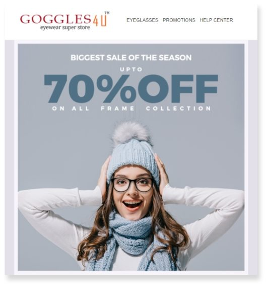 fashion email marketing goggles for you promotion