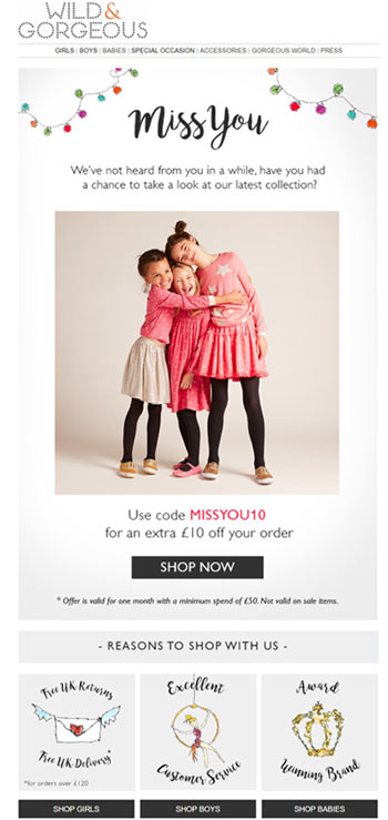 fashion reactivation email wildandgorgeous