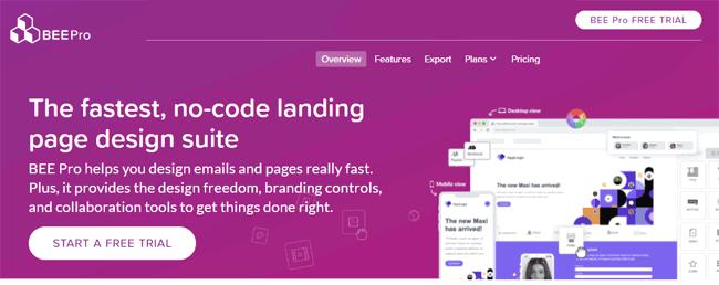 free landing page builder BEE