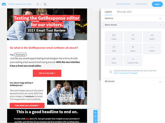 getresponse review email editor test