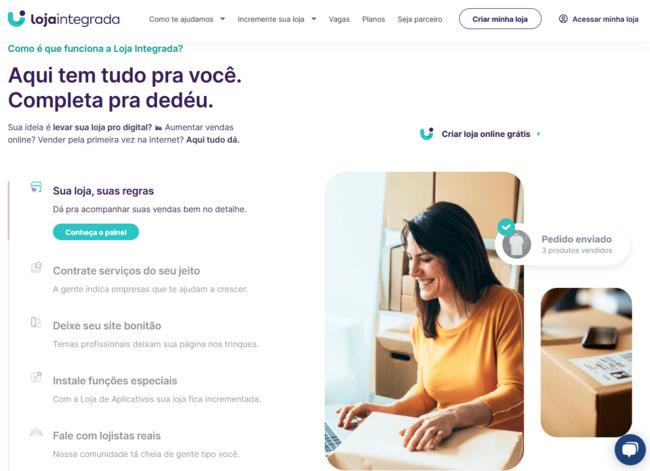 página inicial da ferramenta de ecommerce loja integrada