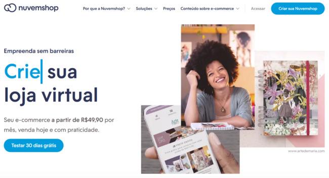 página inicial da plataforma de ecommerce nuvemshop
