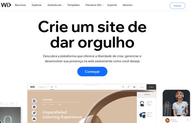 pagina inicial da ferramenta de ecommerce wix stores