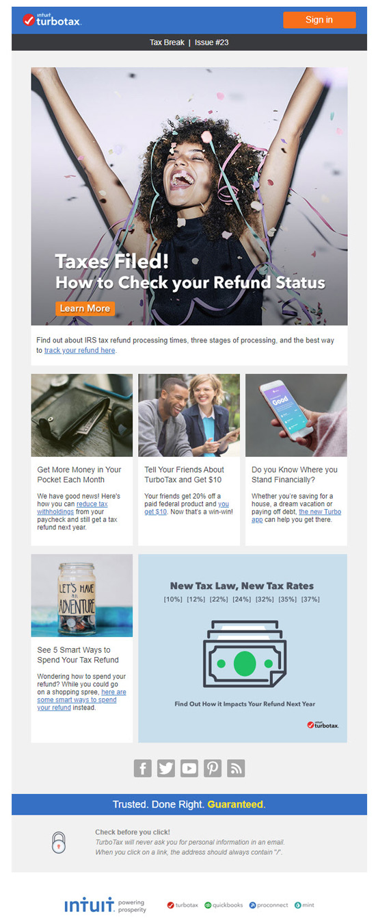 intuit email marketing newsletter turbotax