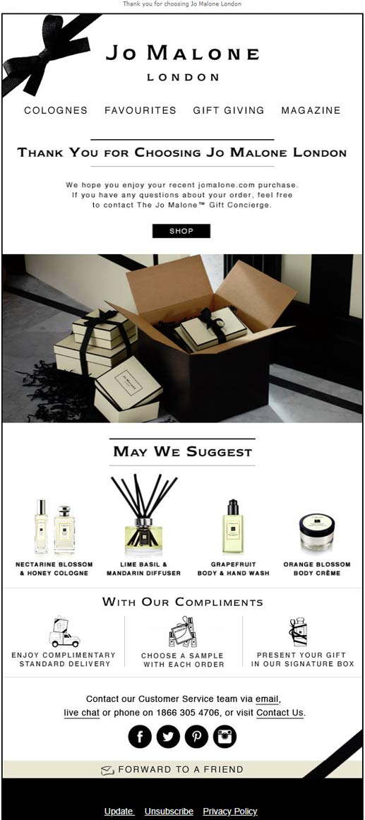 jo malone ecommerce first purchase email