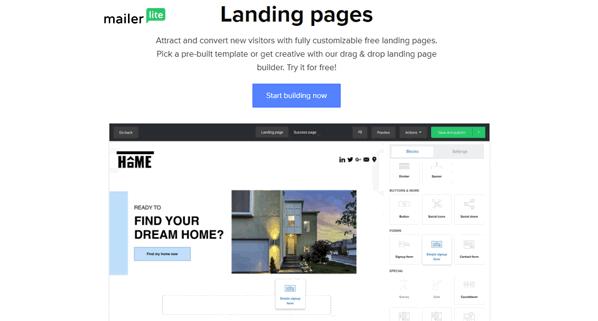 mailerlite landing page maker