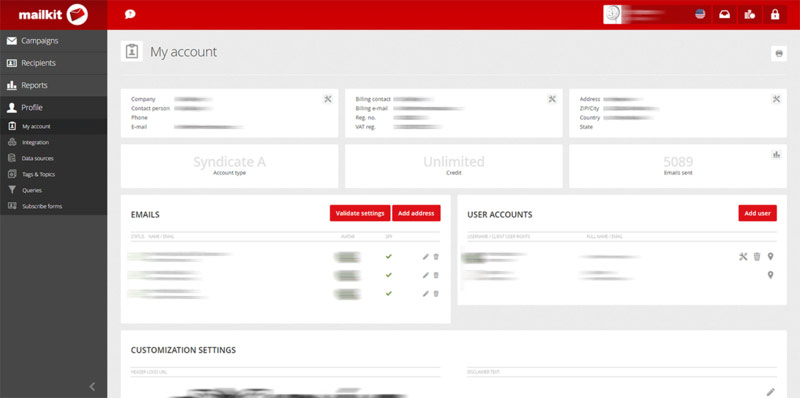 mailkit personal dashboard
