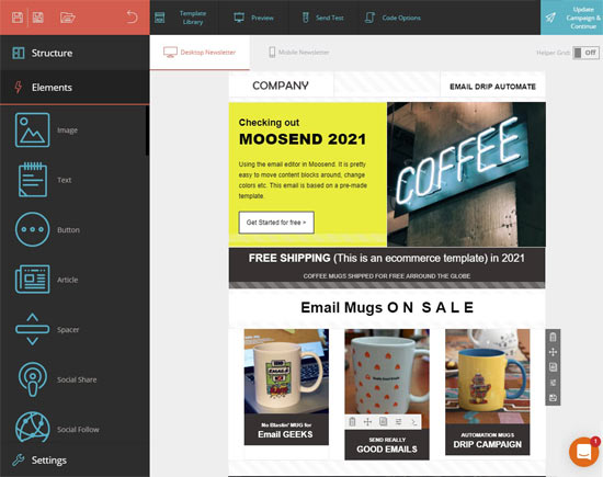 moosend cheap email marketing platform editor