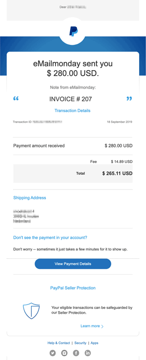 paypal payment reciept transactional email small