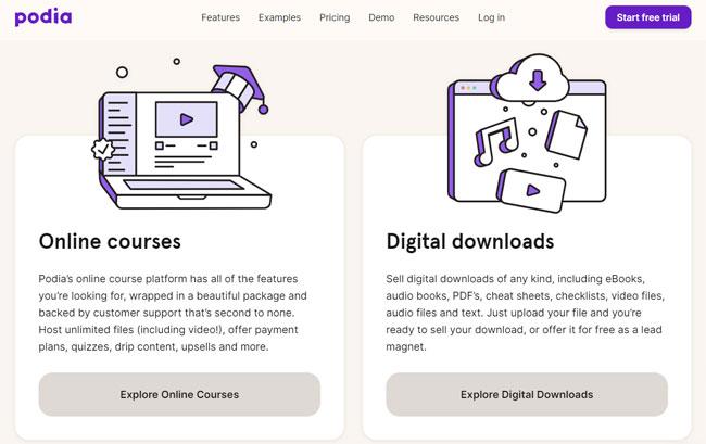 podia online courses digital dowloads tool