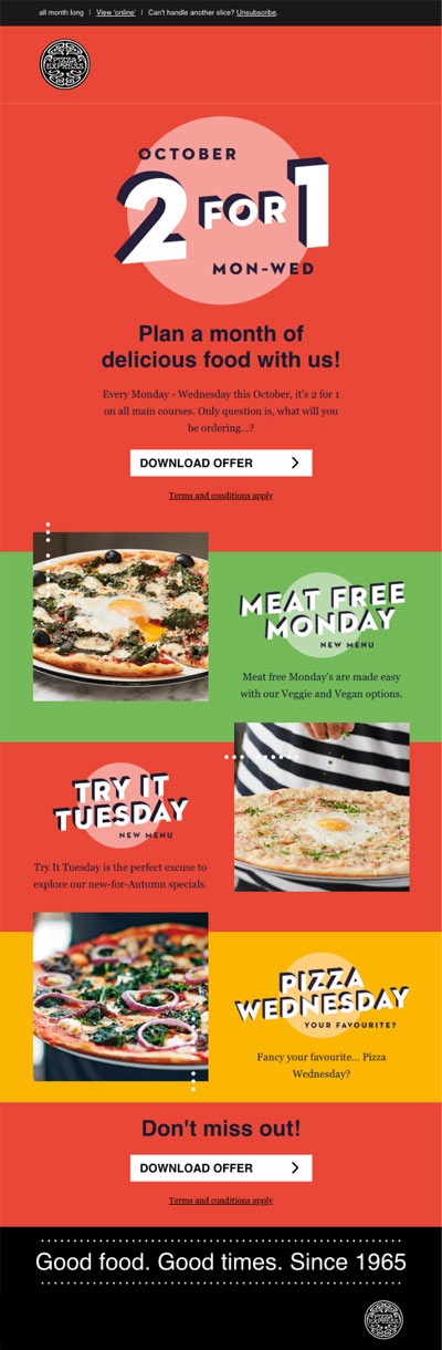 restaurant pizza express email example