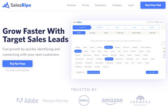 salesripe lead generation software lead lists