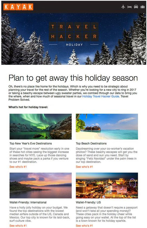 seasonal email example kayak travel