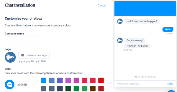 sendinblue free chat conversational messaging setup