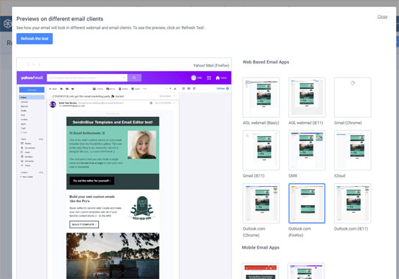 Preview email clients rendering testing sendinblue review