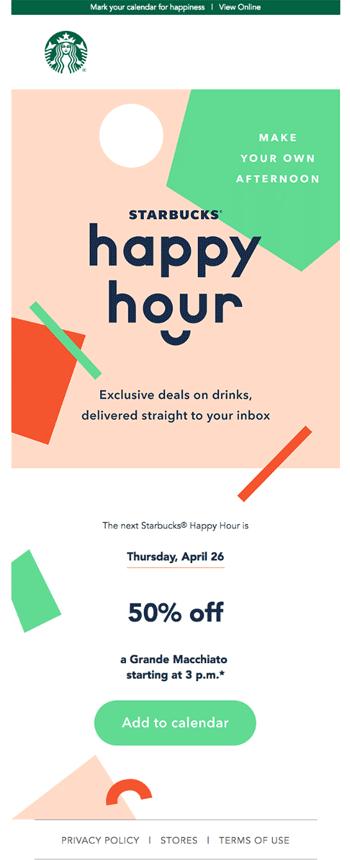 starbucks-retaurant bars email happy hour example