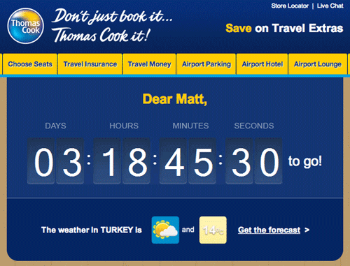 travel countdown timer email