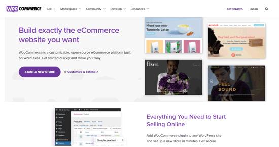 página inicial da plataforma de ecommerce woocommerce
